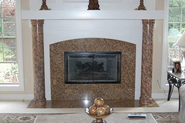 Faux marble fireplace columns