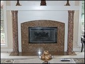 Columns painted to match the granite fireplace.
