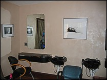 The walls of this salon were done with a material called LusterStone™.
