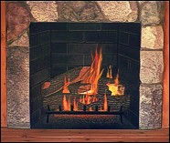 The inside of this fireplace is painted on a flat panel.